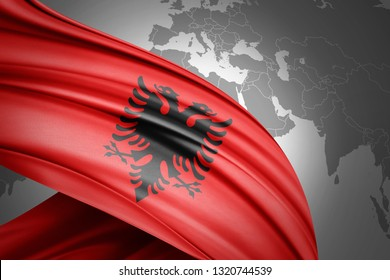 Albania flag of silk with copyspace for your text or images and world map background-3D illustration