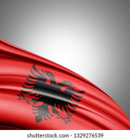 Albania flag of silk with copyspace for your text or images and white background-3D illustration
