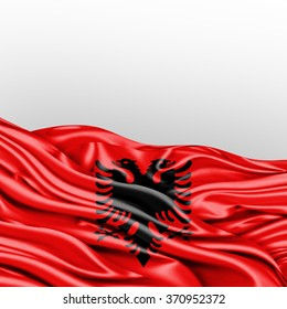Albania flag of silk with copyspace for your text or images and White background