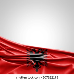 Albania flag of silk with copyspace for your text or images-3D illustration
