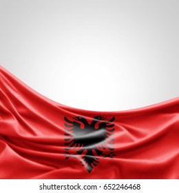 Albania flag of silk with copyspace for your text or images and white background -3D illustration