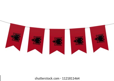 Albania national flag festive bunting against a plain white background. 3D Rendering