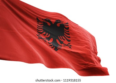 Albania national flag waving in the blue sky realistic 3d illustration isolated on white background