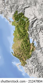 Albania. Shaded relief map with major urban areas. Surrounding territory greyed out. Colored according to vegetation. Includes clip path for the state area. Data source: NASA