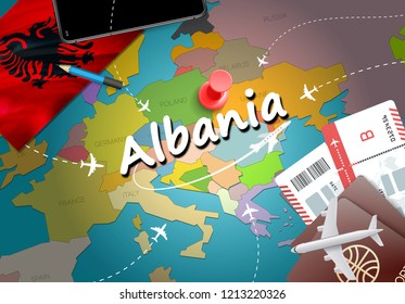 Albania travel concept map background with planes, tickets. Visit Albania travel and tourism destination concept. Albania flag on map. Planes and flights to Albanian holidays to Tirana,Saranda