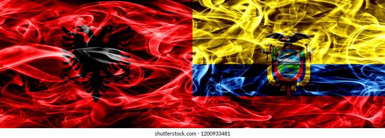 Albania vs Ecuador, Ecuadorian smoke flags placed side by side. Thick colored silky smoke flags of Albanian and Ecuador, Ecuadorian