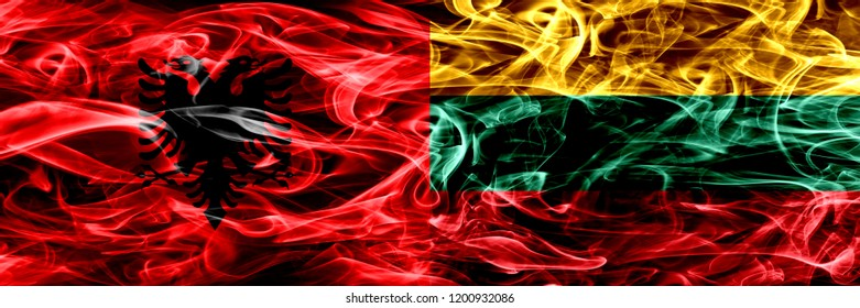Albania vs Lithuania, Lithuanian smoke flags placed side by side. Thick colored silky smoke flags of Albanian and Lithuania, Lithuanian