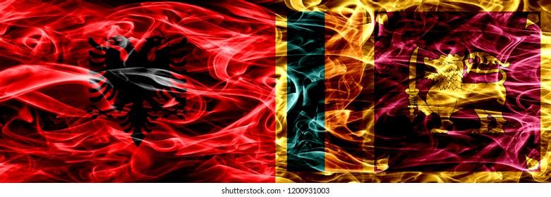 Albania vs Sri Lanka, Sri Lankan smoke flags placed side by side. Thick colored silky smoke flags of Albanian and Sri Lanka, Sri Lankan