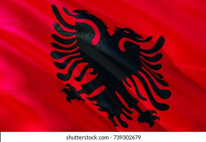 Albanian flag. Flag of Albania. 3D Waving flag design. Red and black flag 3D rendering.  3D Waving sign design. Waving sign background wallpaper. 3D pattern background download graphics hd wallpaper