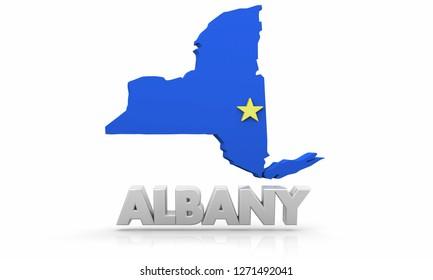 Albany New York NY City State Map 3d Illustration