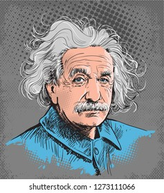 Albert Einstein colored portrait in line art. He (1879-1955) was a German-born physicist who developed the theory of relativity. His work is also known for its influence on the philosophy of science.