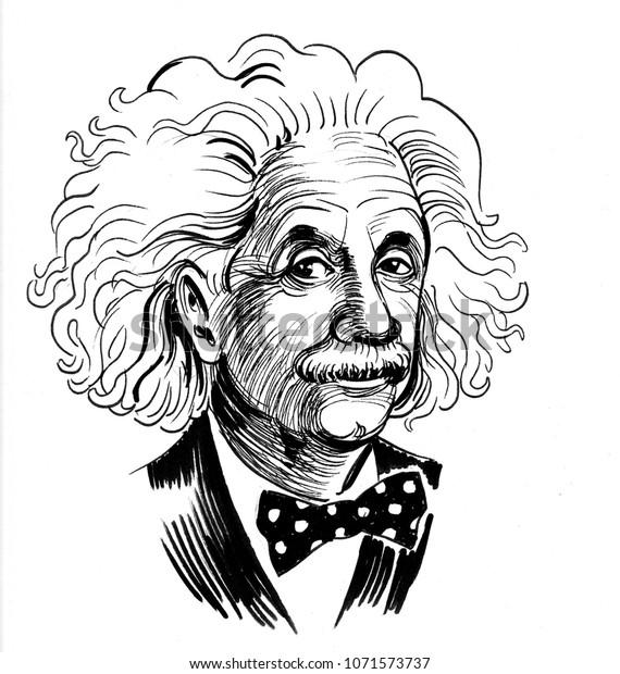 Albert Einstein. Ink black and white cartoon