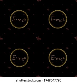 Albert Einstein's theory of relativity in an educational scientific illustration with the formula E = MC2 according to which mass–energy equivalence is the relationship between mass and energy