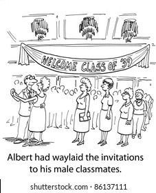Albert had waylaid the invitations to his male classmates.