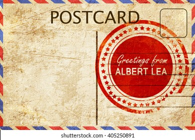 albert lea stamp on a vintage, old postcard