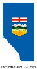Alberta, Canada, state, province, flag, map, national, isolated, white background,