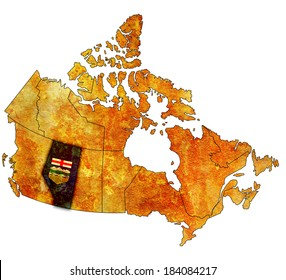 alberta on administration map of canada with flags