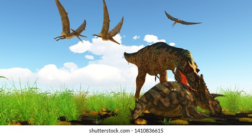 Albertosaurus attacks Albertaceratops - With a vicious neck bite an Albertosaurus attacks Albertaceratops to disable the dinosaur as Pteranodons fly over like vultures.