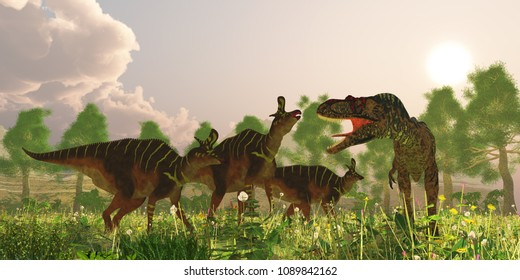Albertosaurus and Lambeosaurus Dinosaurs 3D illustration - A herd of Lambeosaurus dinosaurs become alarmed when a predatory Albertasaurus makes an appearance in their territory.