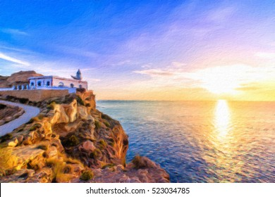 Albir lighthouse beautifully located on top of a cliff. Oil painting effect.
