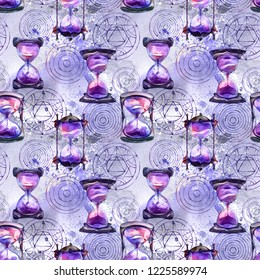 Alchemical sand hourglasses and transmutation circles, watercolor painting, seamless pattern, background design