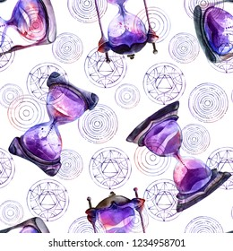 Alchemical sand hourglasses and transmutation circles, watercolor painting on white background, seamless pattern