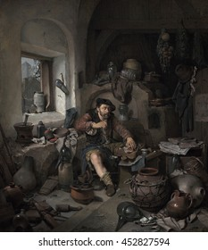 The Alchemist, by Cornelis Bega, 1663, Dutch painting, oil on canvas. Unkempt figure of an alchemist sits among a chaotic jumble of paraphernalia. The alchemist is a subject of ridicule, wasting time