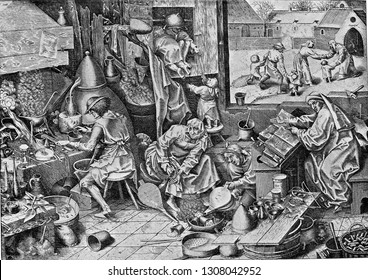 An alchemist interior in the sixteenth century, vintage engraved illustration. From the Universe and Humanity, 1910.