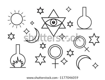 Alchemy Spirituality Symbols Flat Style Alchemy Stock Illustration