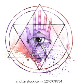 Alchemy symbol with hand, all seeing eye, moon phases and transmutation circle. Watercolor painting on white background.