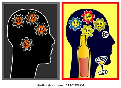 Alcohol affecting the mood. With booze people are feeling better and are more optimistic