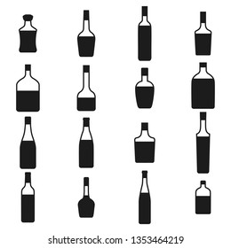 Alcohol bottles icons set. Black silhouettes on a white background,  illustration.