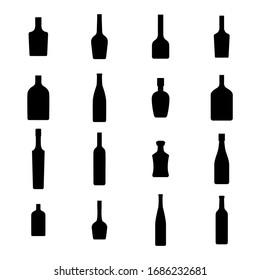 Alcohol bottles icons set. Black silhouettes on a white background,  illustration.