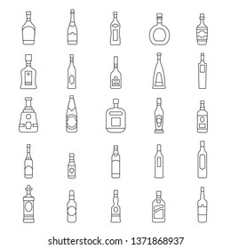 Alcohol bottles line icons set.   illustration alcohol drinks in bottles. Object for advertising and web