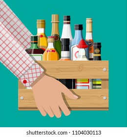 Alcohol drinks collection in box in hand. Bottles with vodka champagne wine whiskey beer brandy tequila cognac liquor vermouth gin rum absinthe sambuca cider bourbon. illustration in flat style