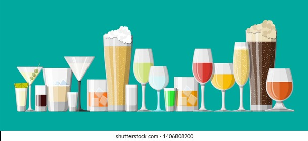 Alcohol drinks collection in glasses. Vodka champagne wine whiskey beer brandy tequila cognac liquor vermouth gin rum absinthe sambuca cider bourbon. illustration in flat style.