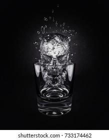 Alcohol evil illustration. 3d render of  liquid skull in glass.