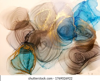 Alcohol Ink Abstract. Bleached Mineral Vintage. Bright Alcohol Ink Texture. Abstract Lines Painting. Waves Marbled. Colorful Oil Water Abstract. Marbled Paper Background.
