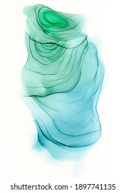 Alcohol ink abstract green and blue spot background