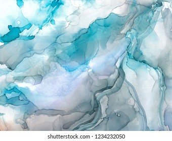 Alcohol ink sea texture. Fluid ink abstract background. art for design