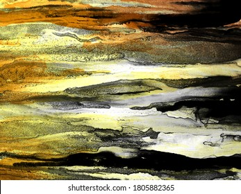 Alcohol Ink Texture. Grunge Gilded. Splatter Wash Drawing. Dirty Rainbow Blots. Motley Yellow Blots. Ocher spatter. Shabby Contrast Strips Carbonic Stains. Alcohol Illustration.