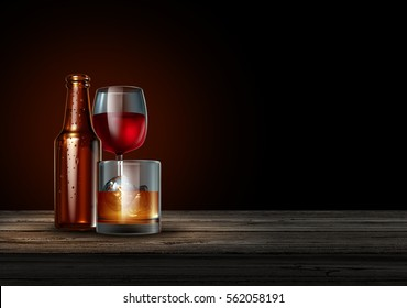 Alcohol on a bar on a black background as a bottle of beer wine and a glass of hard liquor as whiskey or scotch as a drinking or alcoholism concept as a 3D illustration.