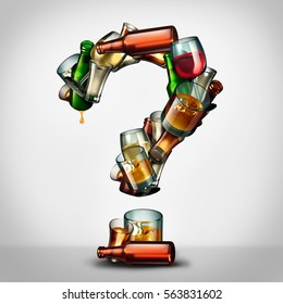 Alcohol questions and alcoholism information concept as a group of beer wine and hard liquor glasses shaped as a a question mark as a symbol for alcoholic addiction uncertainty as a 3D illustration.
