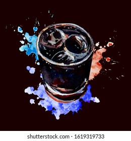 Alcoholic drink Rum and Cola. Cuba Libre. Sparkling cocktail with ice cubes and lime juice. Watercolor splashes of blue, purple and red.