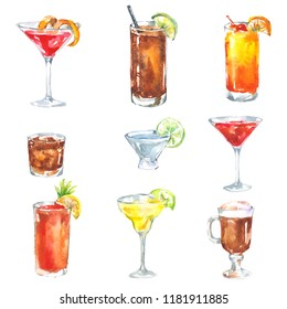 Alcoholic drinks cocktail set watercolor illustration isolated on white background