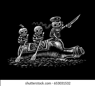Alcoholic sea voyage. Three fun skeletons sailors float on a bottle by the sea. Black and white comic illustration.