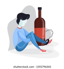 Alcoholism concept. Person chained to the glass bottle of drink. Alcohol addiction and danger for health.  illustration in cartoon style