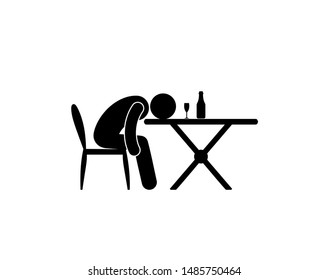 alcoholism illustration, man fell asleep sitting at a table with a bottle and a glass of wine, stick figure pictogram, human silhouette icon isolated
