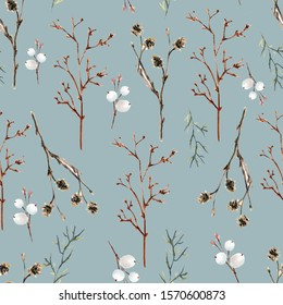 Alder tree twigs, lime tree twigs, snowberry, watercolor seamless pattern on soft blue background
