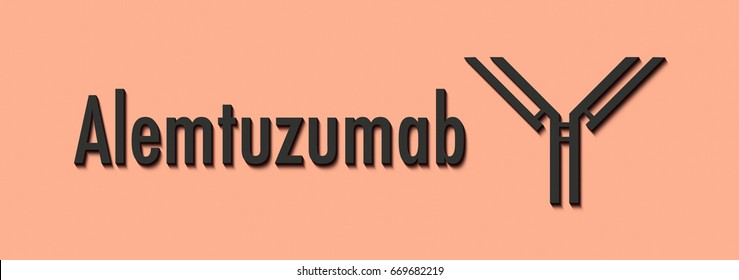 Alemtuzumab monoclonal antibody drug. Targets CD52. Used in treatment of leukemia and multiple sclerosis. Generic name and stylized antibody.